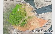 Satellite 3D Map of Ethiopia, semi-desaturated
