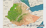 Satellite 3D Map of Ethiopia, shaded relief outside, satellite sea