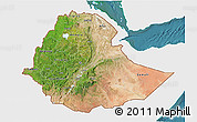 Satellite 3D Map of Ethiopia, single color outside