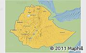 Savanna Style 3D Map of Ethiopia, single color outside