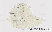 Shaded Relief 3D Map of Ethiopia, cropped outside