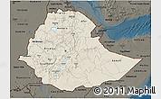 Shaded Relief 3D Map of Ethiopia, darken