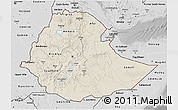 Shaded Relief 3D Map of Ethiopia, desaturated
