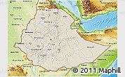 Shaded Relief 3D Map of Ethiopia, physical outside