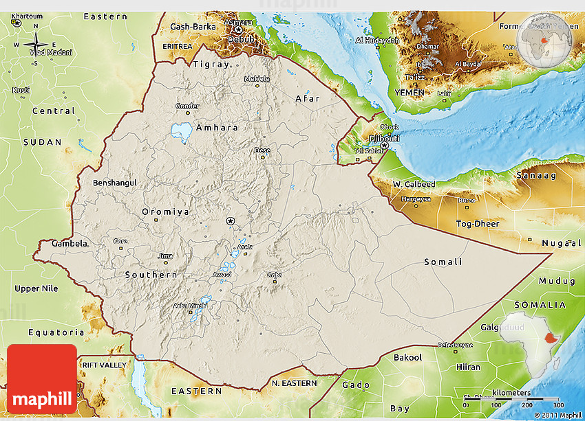 Shaded Relief 3D Map of Ethiopia physical outside