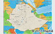 Shaded Relief 3D Map of Ethiopia, political outside, shaded relief sea