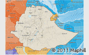 Shaded Relief 3D Map of Ethiopia, political shades outside, shaded relief sea
