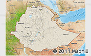 Shaded Relief 3D Map of Ethiopia, satellite outside, shaded relief sea