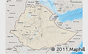 Shaded Relief 3D Map of Ethiopia, semi-desaturated, land only