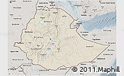 Shaded Relief 3D Map of Ethiopia, semi-desaturated