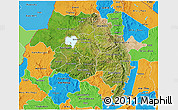 Satellite 3D Map of Amhara, political outside
