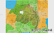 Satellite 3D Map of Amhara, political shades outside