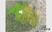 Satellite 3D Map of Amhara, semi-desaturated