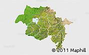 Satellite 3D Map of Amhara, single color outside
