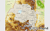 Shaded Relief 3D Map of Amhara, physical outside