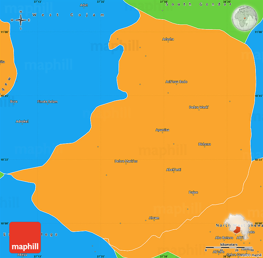 Simple Site Map: Political Simple Map Of East Gojjam