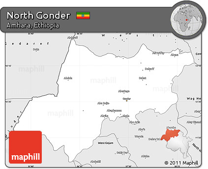 Free Silver Style Simple Map of North Gonder