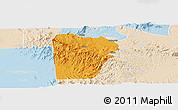 Political Panoramic Map of Bebieg, lighten