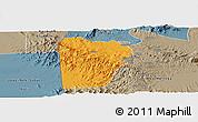 Political Panoramic Map of Bebieg, semi-desaturated