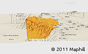 Political Panoramic Map of Bebieg, shaded relief outside
