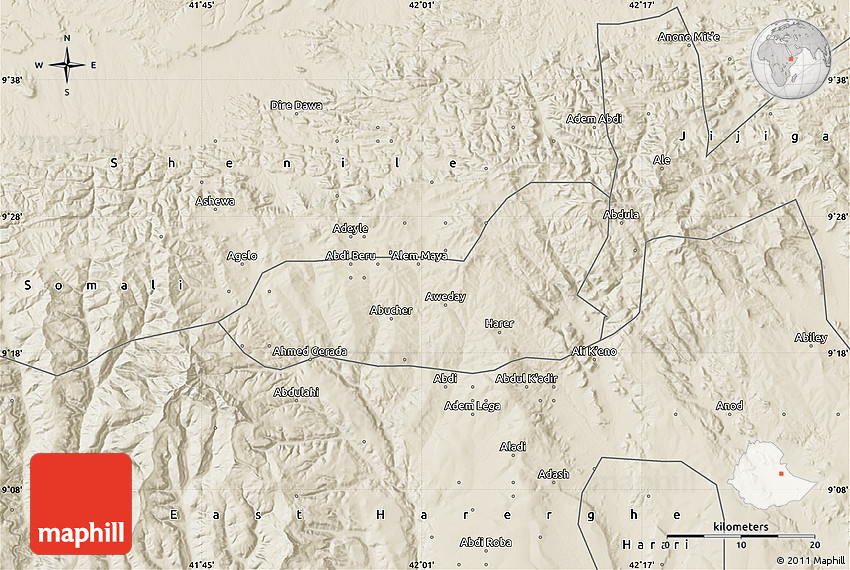 Shaded Relief Map of Dire Dawa