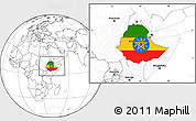 Flag Location Map of Ethiopia, blank outside