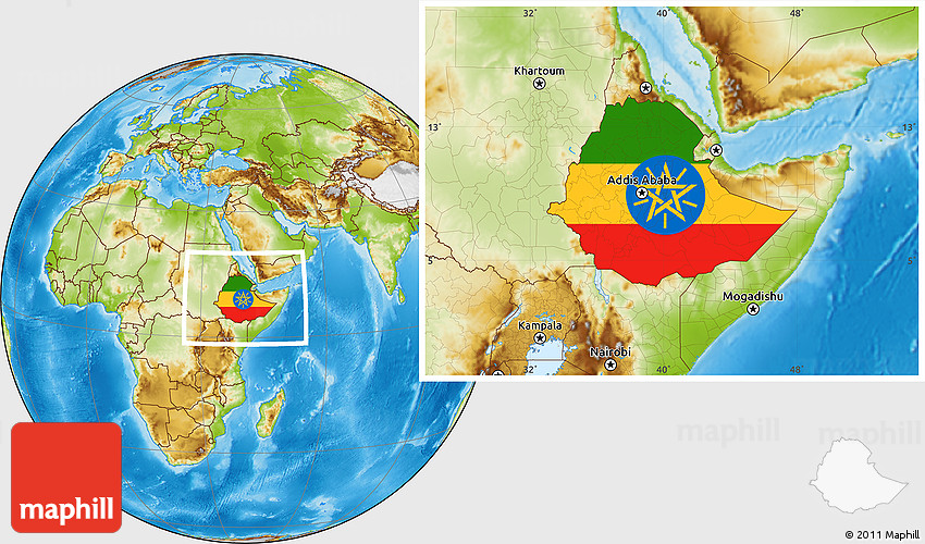 Flag Location Map of Ethiopia physical outside