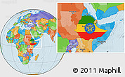 Flag Location Map of Ethiopia, political outside