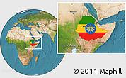 Flag Location Map of Ethiopia, satellite outside