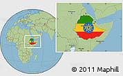 Flag Location Map of Ethiopia, savanna style outside