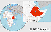 Gray Location Map of Ethiopia, highlighted continent