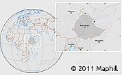 Gray Location Map of Ethiopia, lighten, desaturated