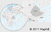 Gray Location Map of Ethiopia, lighten