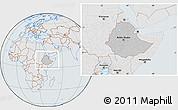 Gray Location Map of Ethiopia, lighten, semi-desaturated