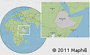 Gray Location Map of Ethiopia, savanna style outside