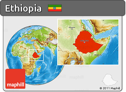 Free Physical Location Map of Ethiopia