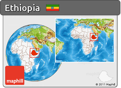 Physical Location Map of Ethiopia, highlighted continent, within the entire continent