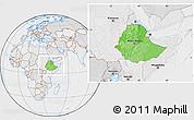 Political Location Map of Ethiopia, lighten, desaturated
