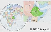Political Location Map of Ethiopia, lighten