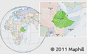 Political Location Map of Ethiopia, lighten, semi-desaturated