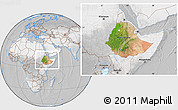 Satellite Location Map of Ethiopia, lighten, desaturated