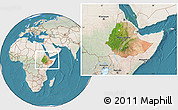 Satellite Location Map of Ethiopia, lighten, land only
