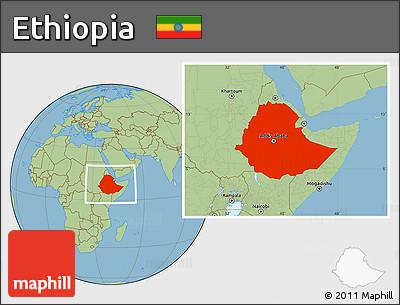 Savanna Style Location Map of Ethiopia