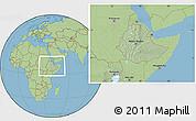 Savanna Style Location Map of Ethiopia, hill shading inside