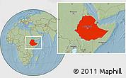 Savanna Style Location Map of Ethiopia, hill shading