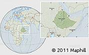 Savanna Style Location Map of Ethiopia, lighten, hill shading