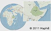 Savanna Style Location Map of Ethiopia, lighten, land only, hill shading