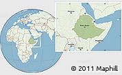 Savanna Style Location Map of Ethiopia, lighten, land only