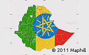Flag Map of Ethiopia, flag aligned to the middle