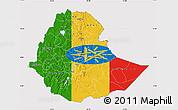 Flag Map of Ethiopia, flag rotated